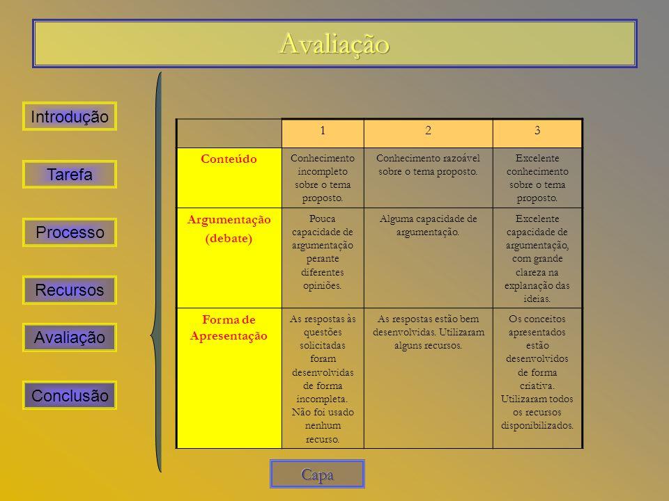 Avaliação Introdução Tarefa Processo Recursos Avaliação Conclusão Capa