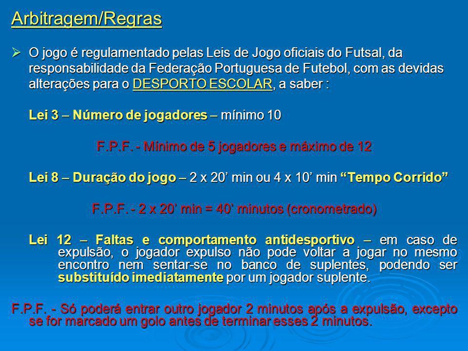 Arbitragem/Regras O jogo é regulamentado pelas Leis de Jogo oficiais do Futsal, da.
