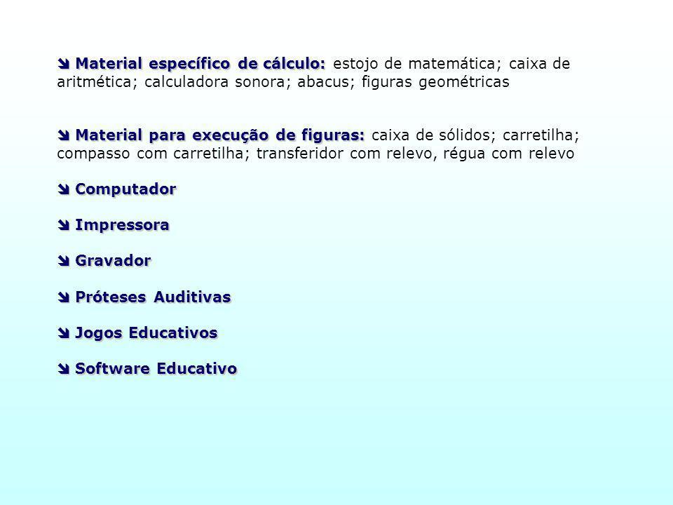  Material específico de cálculo: estojo de matemática; caixa de aritmética; calculadora sonora; abacus; figuras geométricas
