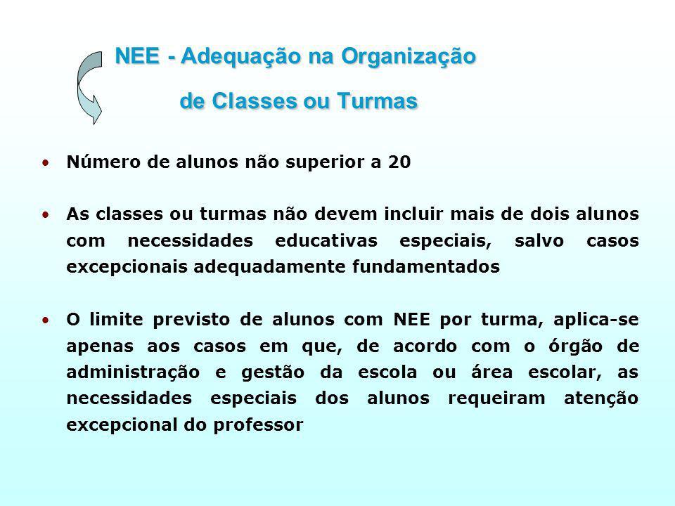 NEE - Adequação na Organização de Classes ou Turmas
