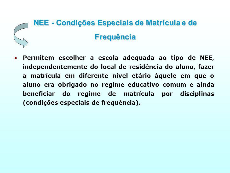 NEE - Condições Especiais de Matrícula e de Frequência