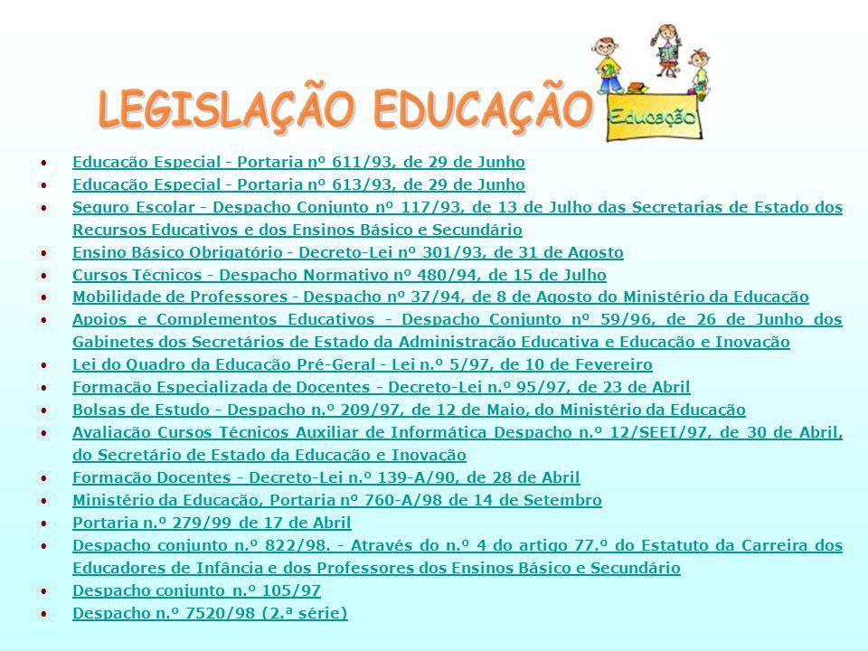 LEGISLAÇÃO EDUCAÇÃO Educação Especial - Portaria nº 611/93, de 29 de Junho. Educação Especial - Portaria nº 613/93, de 29 de Junho.