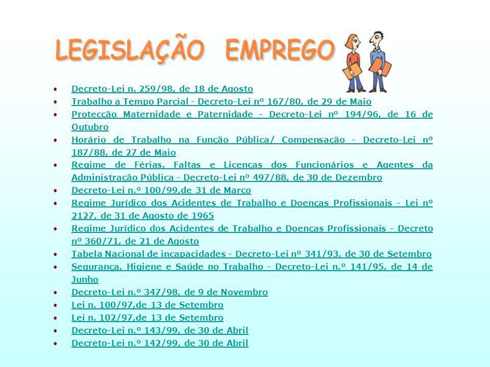 LEGISLAÇÃO EMPREGO Decreto-Lei n. 259/98, de 18 de Agosto