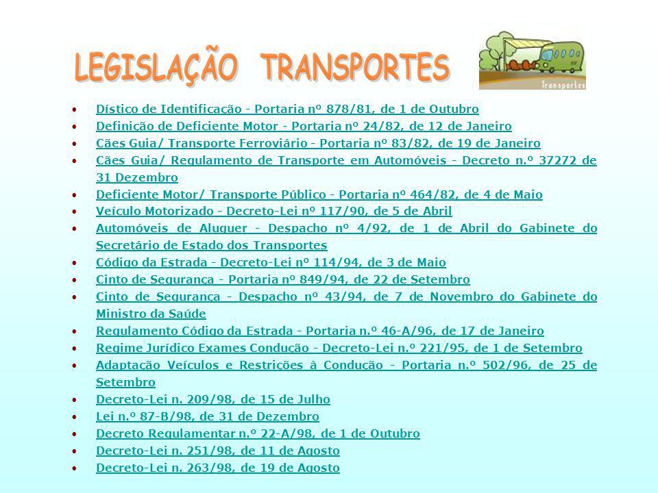 LEGISLAÇÃO TRANSPORTES