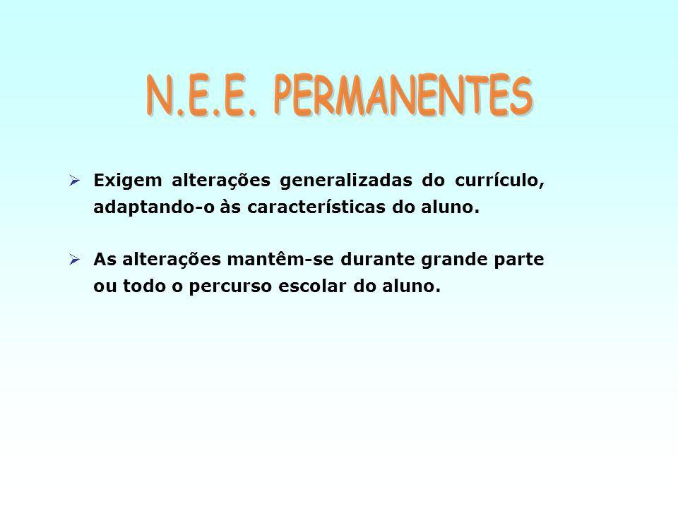N.E.E. PERMANENTES Exigem alterações generalizadas do currículo, adaptando-o às características do aluno.
