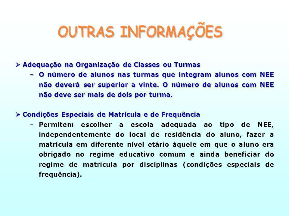 OUTRAS INFORMAÇÕES  Adequação na Organização de Classes ou Turmas