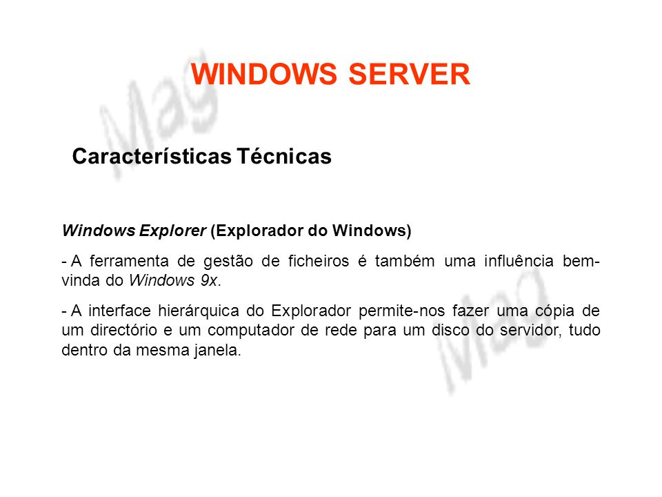WINDOWS SERVER Características Técnicas