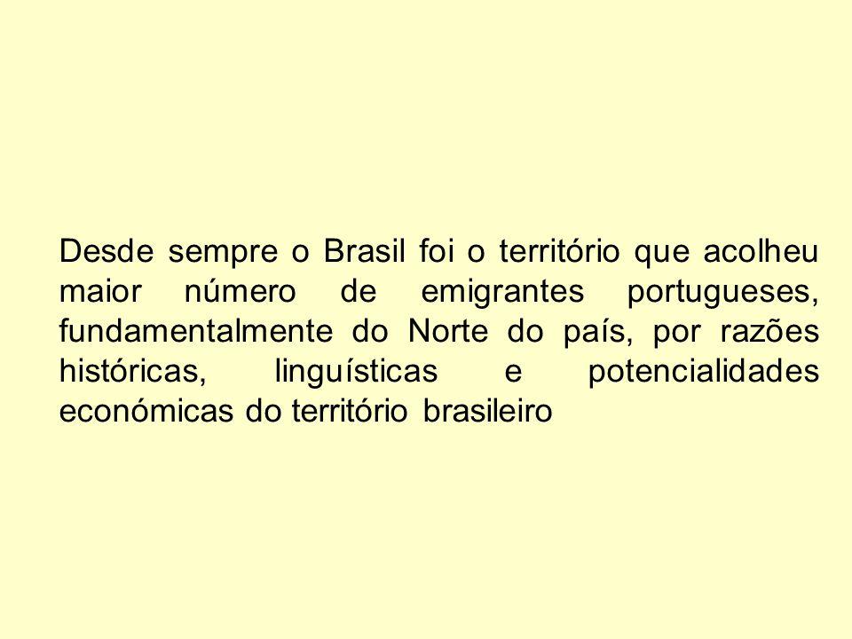 Desde sempre o Brasil foi o território que acolheu maior número de emigrantes portugueses, fundamentalmente do Norte do país, por razões históricas, linguísticas e potencialidades económicas do território brasileiro