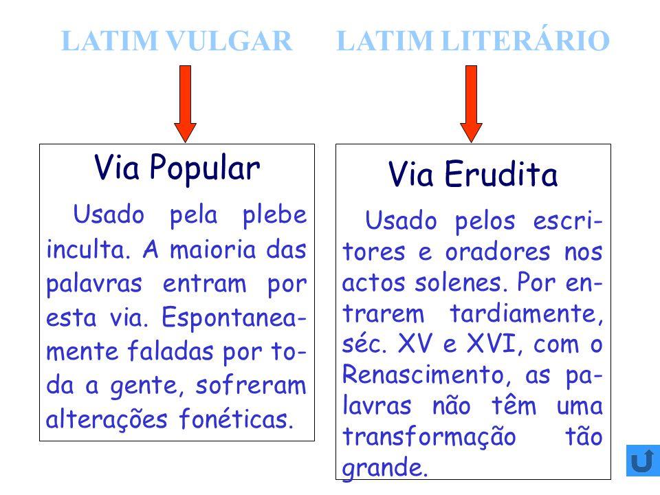 Via Popular Via Erudita LATIM VULGAR LATIM LITERÁRIO