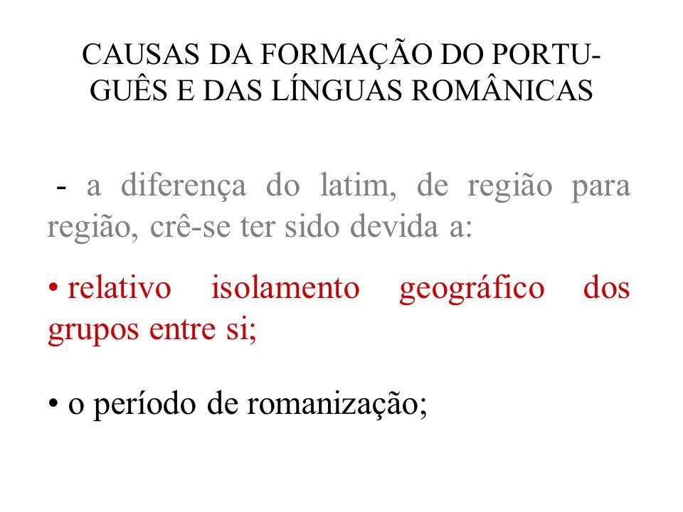 CAUSAS DA FORMAÇÃO DO PORTU-GUÊS E DAS LÍNGUAS ROMÂNICAS