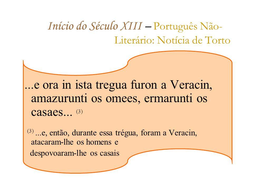 Início do Século XIII – Português Não- Literário: Notícia de Torto