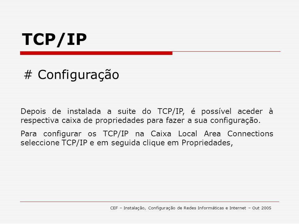 TCP/IP # Configuração. Depois de instalada a suite do TCP/IP, é possível aceder à respectiva caixa de propriedades para fazer a sua configuração.