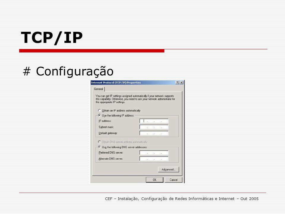 TCP/IP # Configuração CEF – Instalação, Configuração de Redes Informáticas e Internet – Out 2005