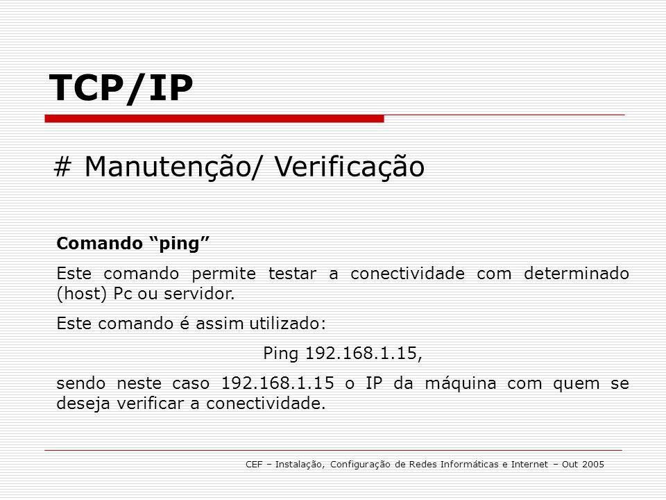 TCP/IP # Manutenção/ Verificação Comando ping