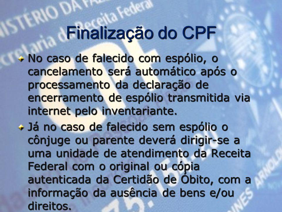 Finalização do CPF