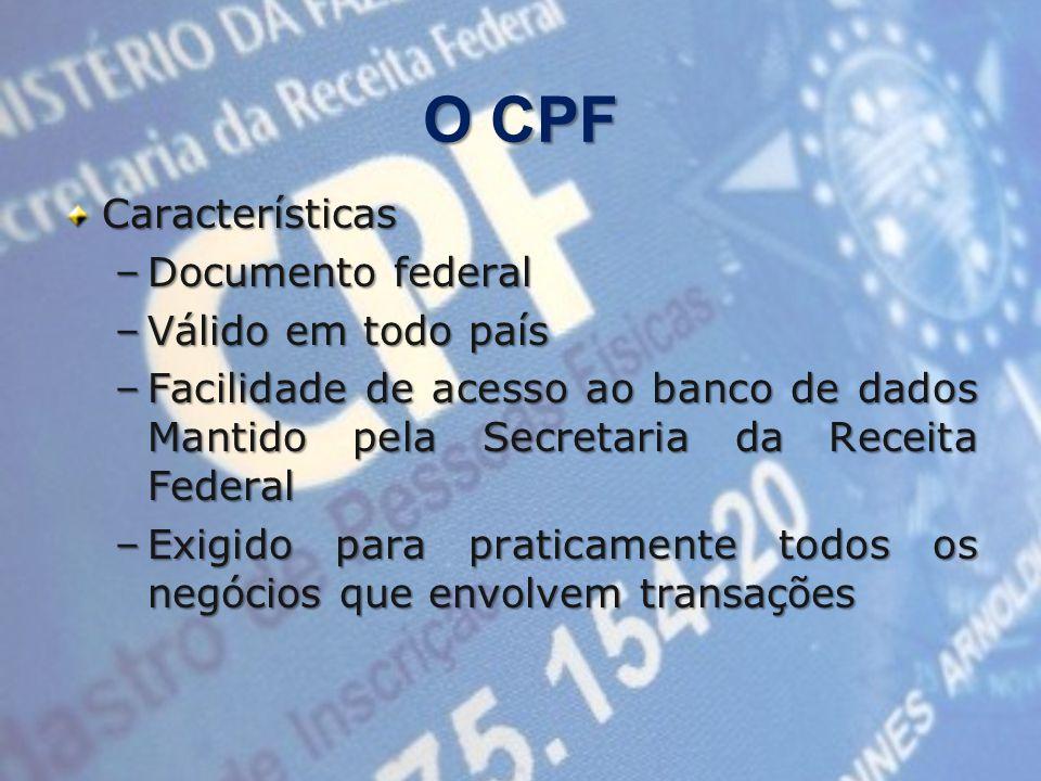 O CPF Características Documento federal Válido em todo país