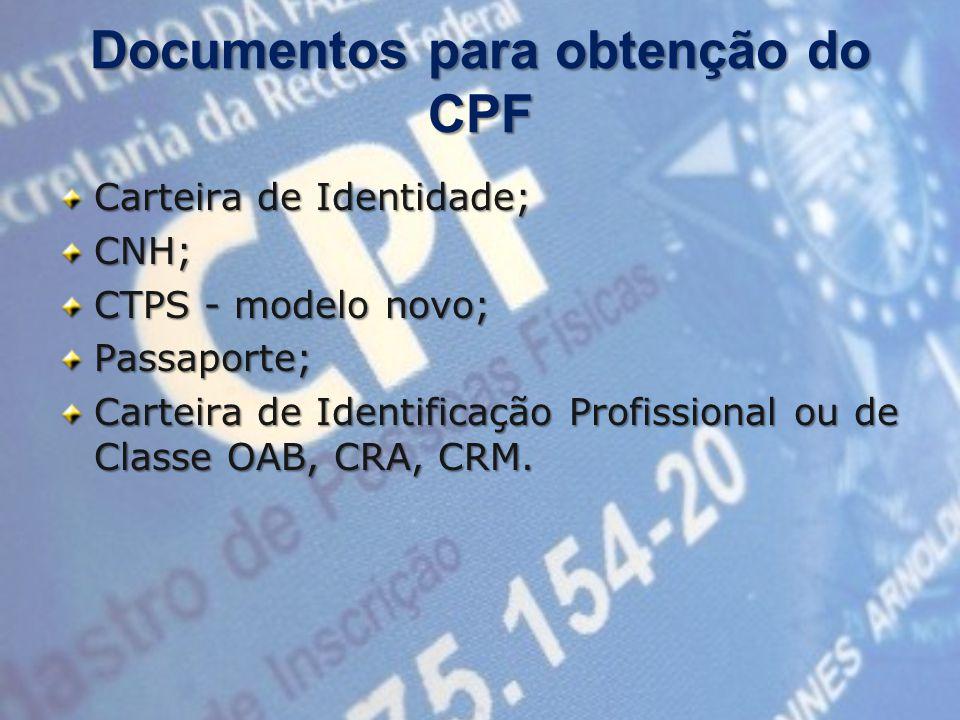 Documentos para obtenção do CPF