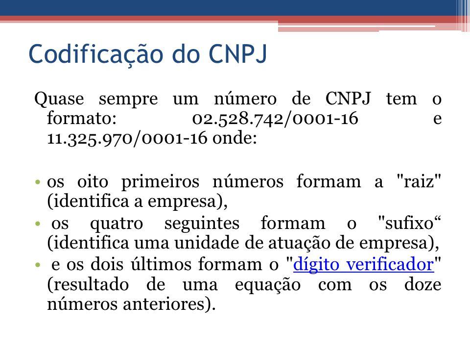 Codificação do CNPJ Quase sempre um número de CNPJ tem o formato: 02.528.742/0001-16 e 11.325.970/0001-16 onde: