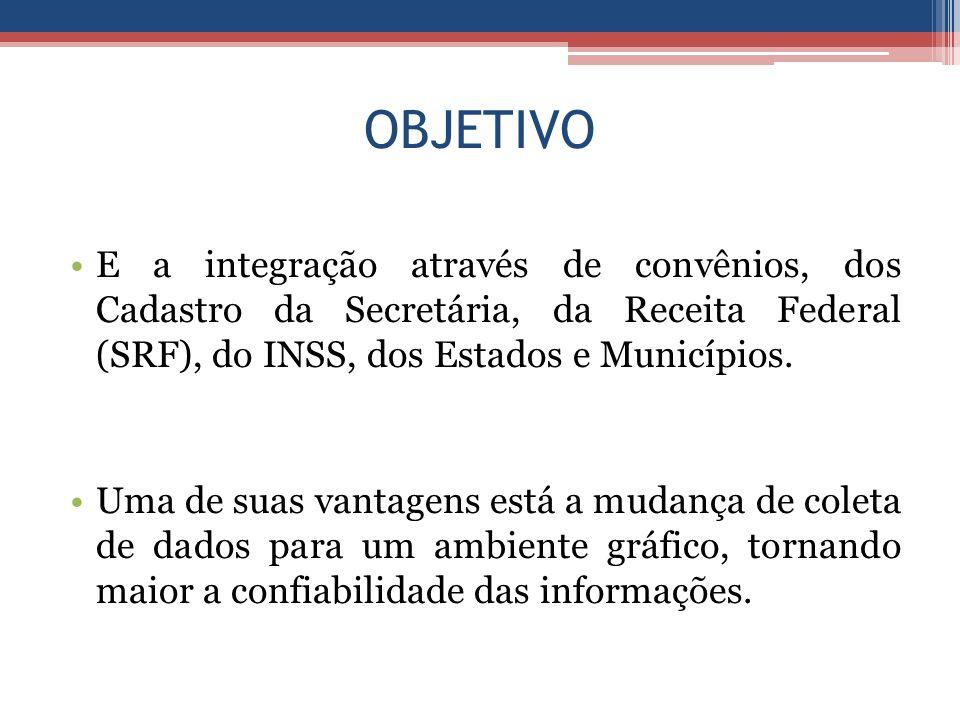 OBJETIVO E a integração através de convênios, dos Cadastro da Secretária, da Receita Federal (SRF), do INSS, dos Estados e Municípios.