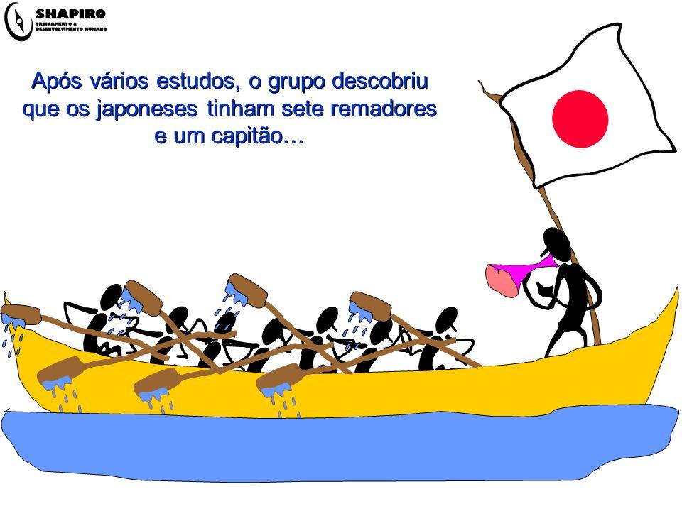 Após vários estudos, o grupo descobriu que os japoneses tinham sete remadores e um capitão…