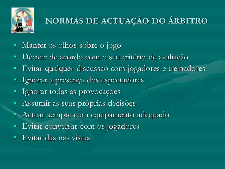 NORMAS DE ACTUAÇÃO DO ÁRBITRO
