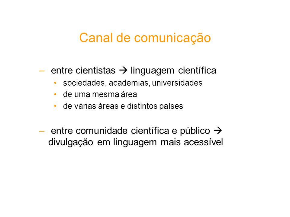 Canal de comunicação entre cientistas  linguagem científica