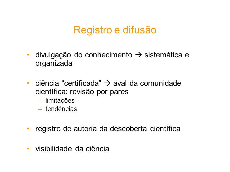 Registro e difusão divulgação do conhecimento  sistemática e organizada. ciência certificada  aval da comunidade científica: revisão por pares.