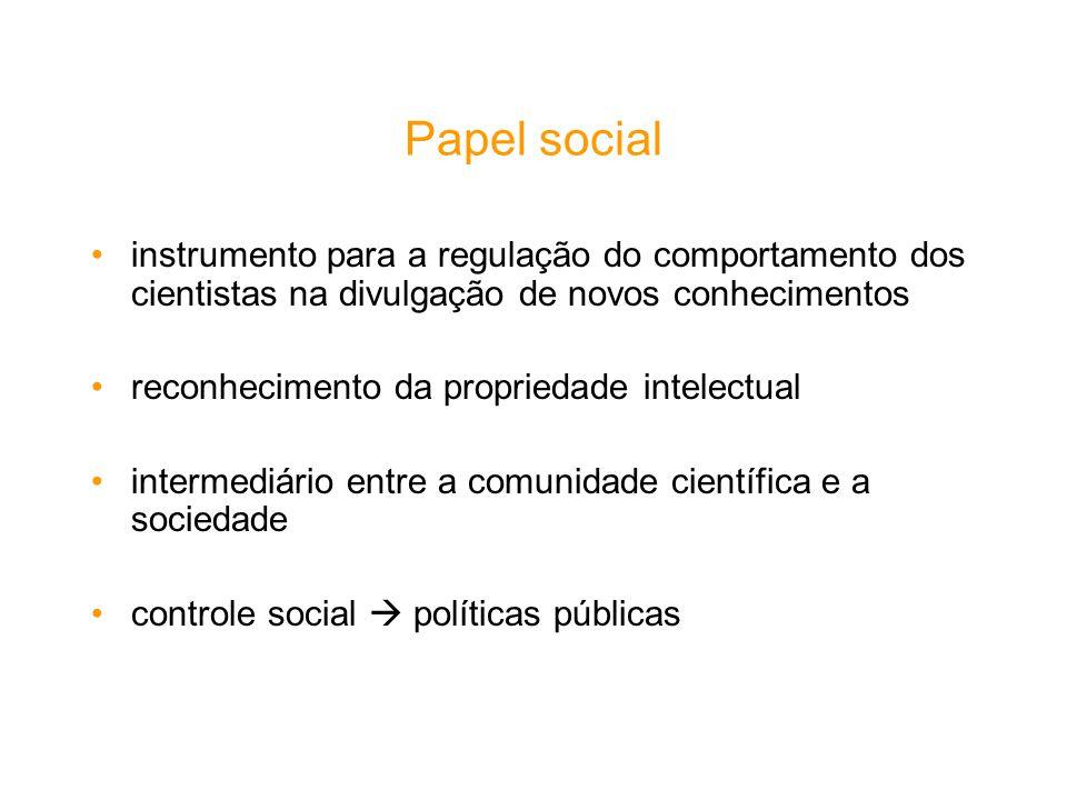 Papel social instrumento para a regulação do comportamento dos cientistas na divulgação de novos conhecimentos.