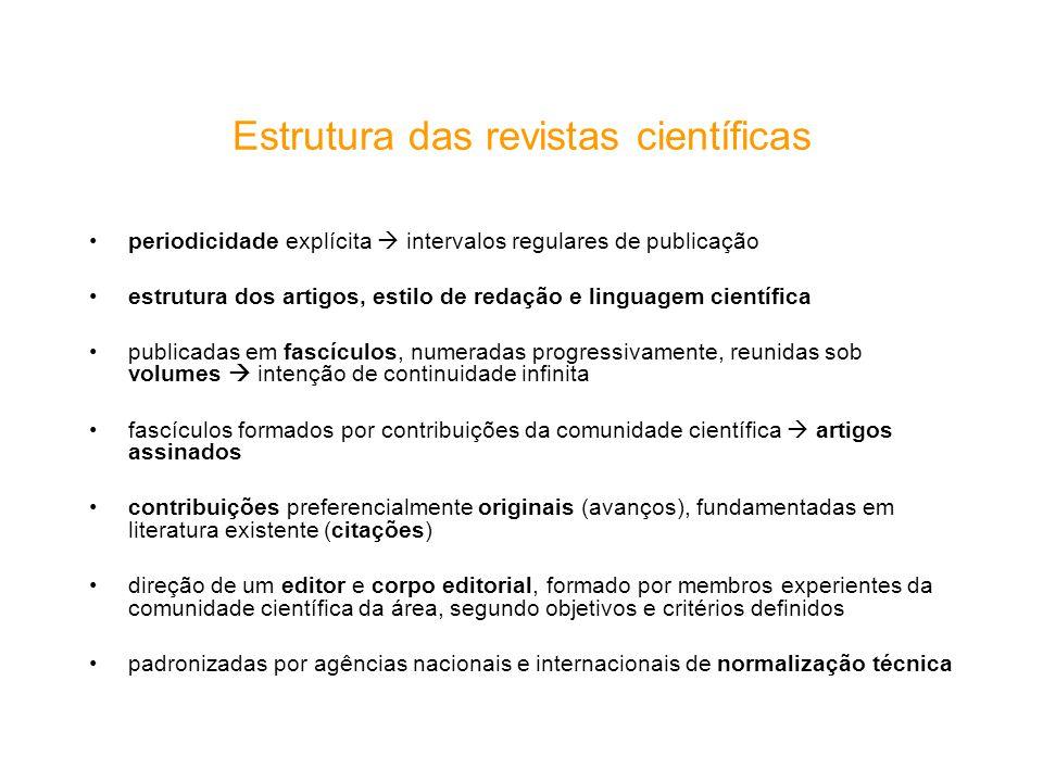Estrutura das revistas científicas