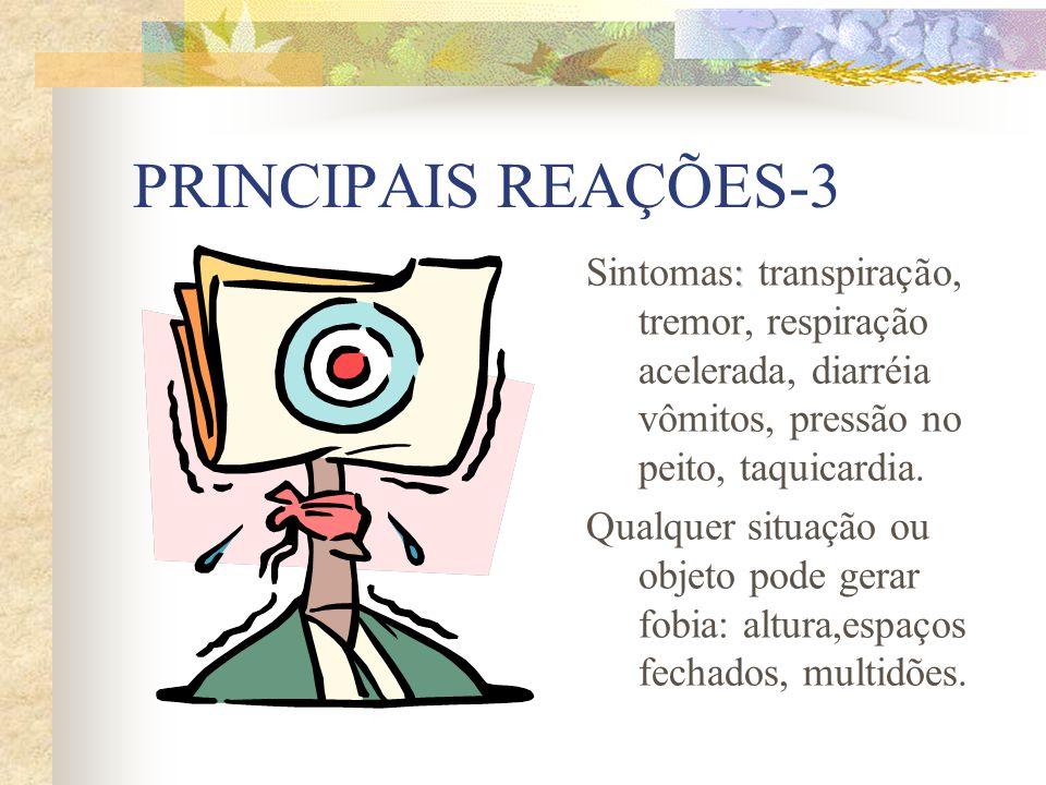 PRINCIPAIS REAÇÕES-3 Sintomas: transpiração, tremor, respiração acelerada, diarréia vômitos, pressão no peito, taquicardia.