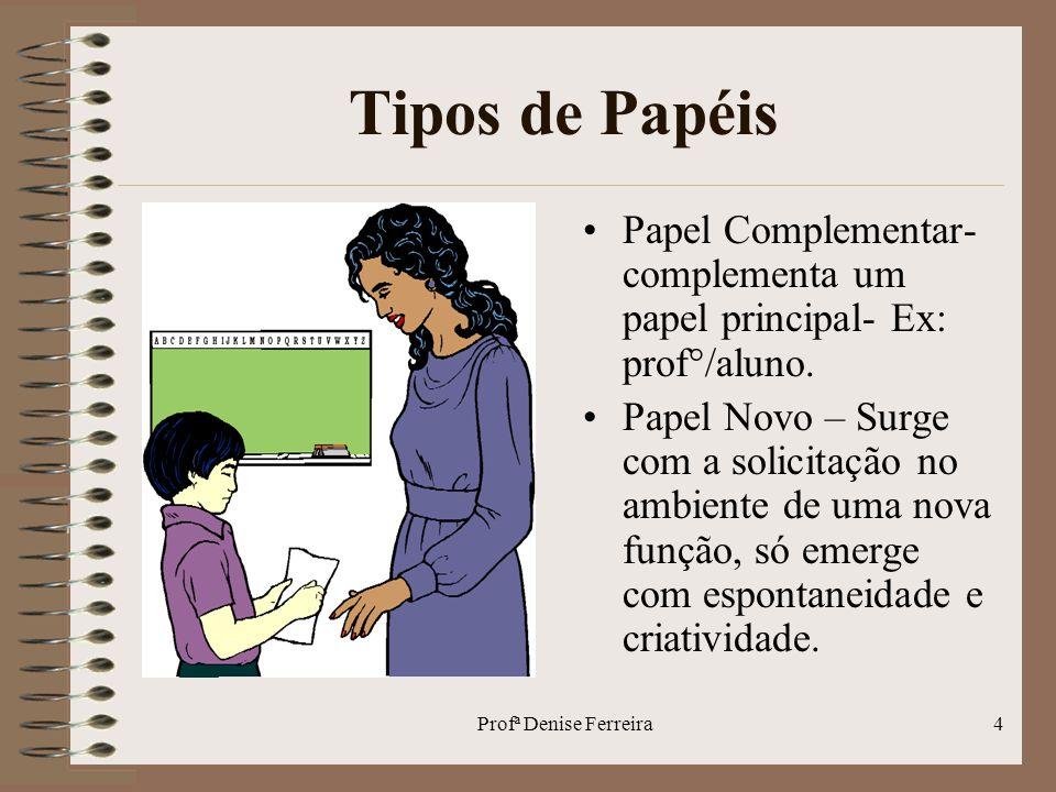 Tipos de Papéis Papel Complementar-complementa um papel principal- Ex: prof°/aluno.