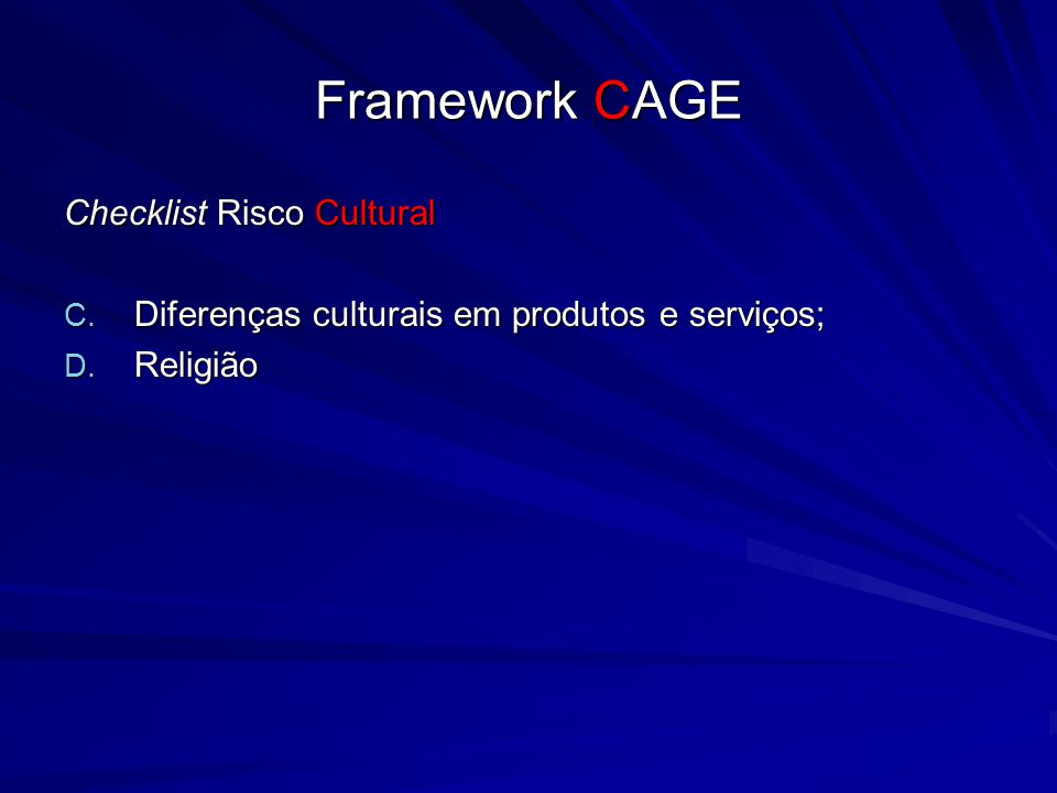 Framework CAGE Checklist Risco Cultural