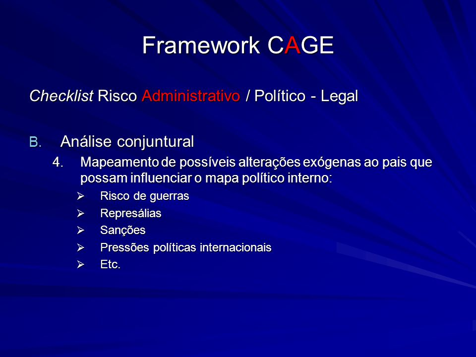 Framework CAGE Checklist Risco Administrativo / Político - Legal