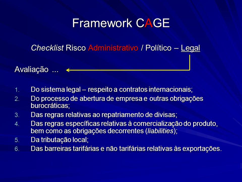 Framework CAGE Checklist Risco Administrativo / Político – Legal