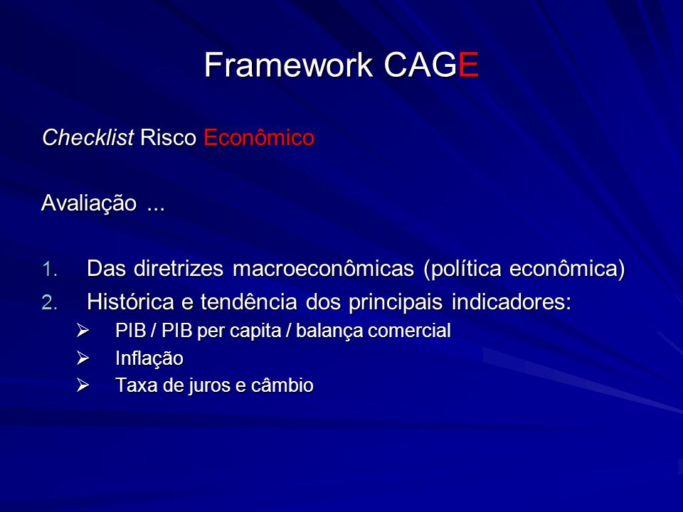 Framework CAGE Checklist Risco Econômico Avaliação ...