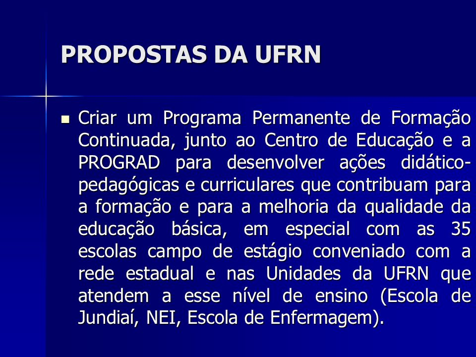 PROPOSTAS DA UFRN