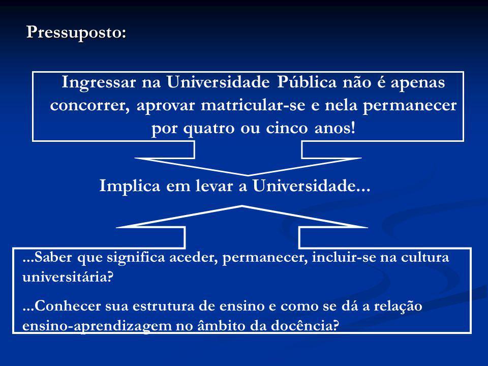 Implica em levar a Universidade...