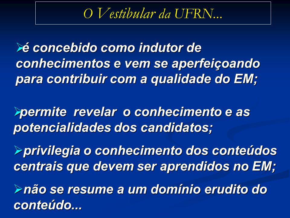 O Vestibular da UFRN... é concebido como indutor de conhecimentos e vem se aperfeiçoando para contribuir com a qualidade do EM;