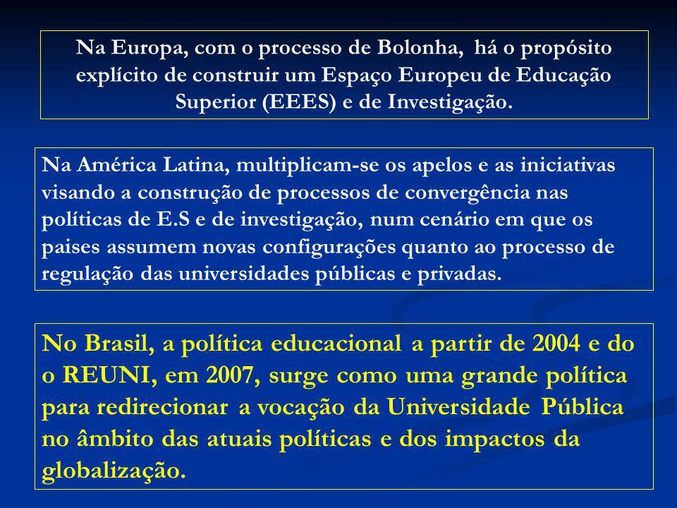 Na Europa, com o processo de Bolonha, há o propósito explícito de construir um Espaço Europeu de Educação Superior (EEES) e de Investigação.
