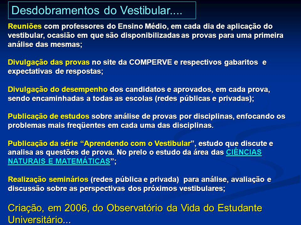 Desdobramentos do Vestibular....