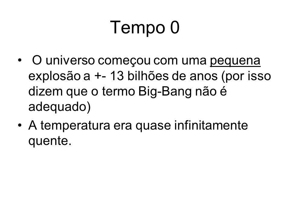 Tempo 0 O universo começou com uma pequena explosão a +- 13 bilhões de anos (por isso dizem que o termo Big-Bang não é adequado)
