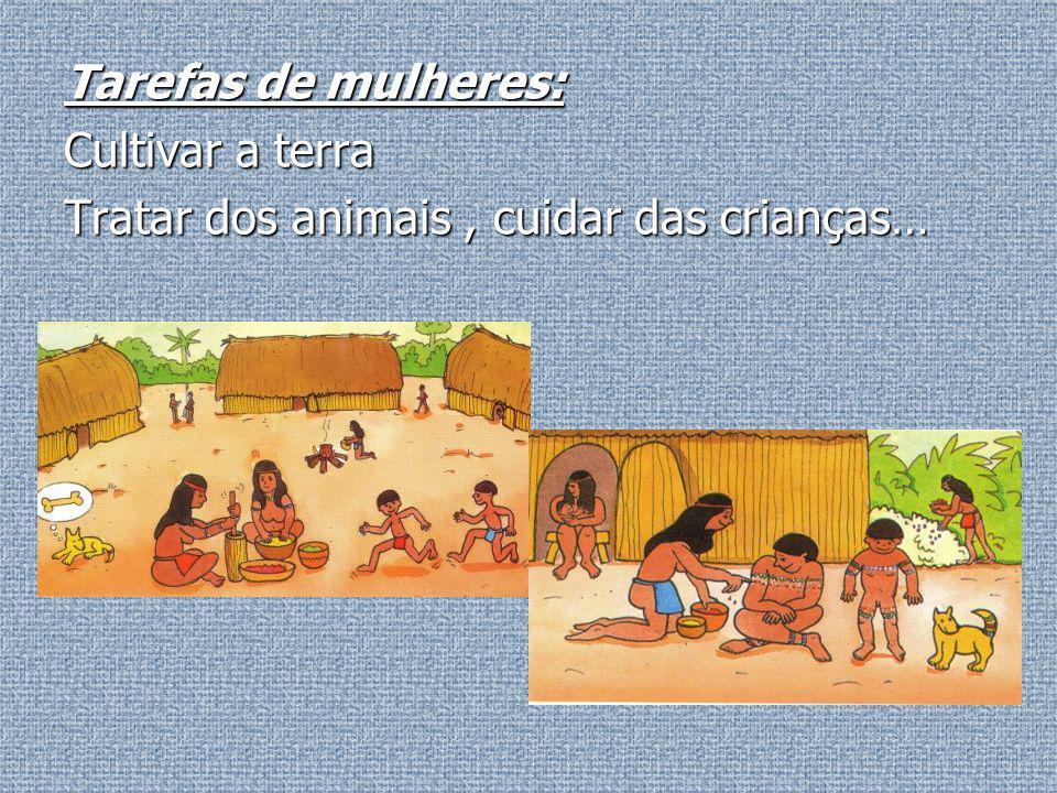Tarefas de mulheres: Cultivar a terra Tratar dos animais , cuidar das crianças…