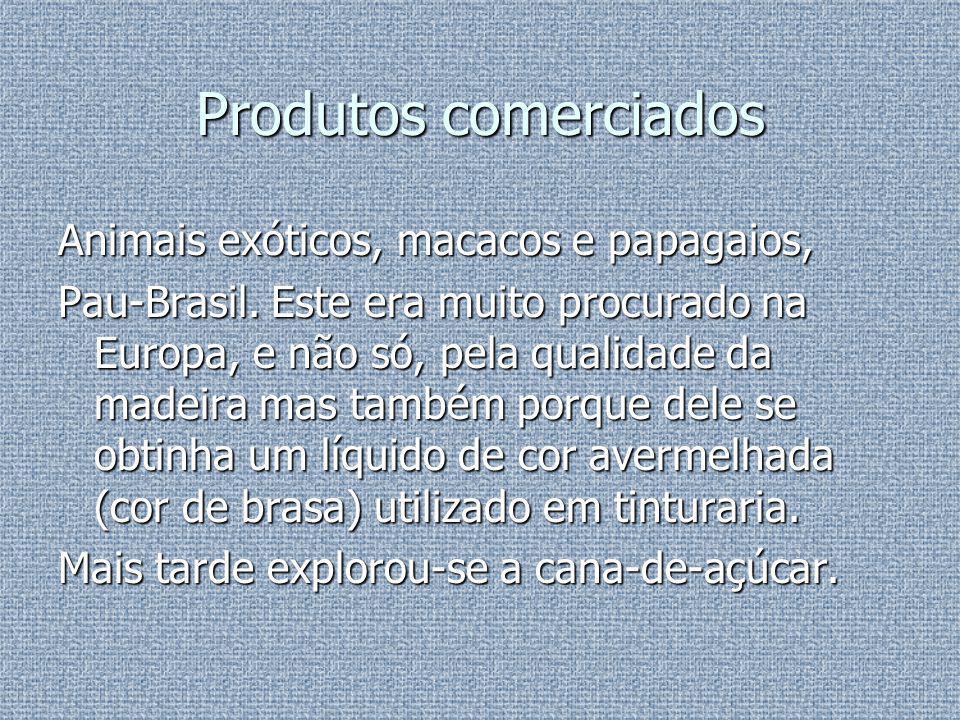 Produtos comerciados Animais exóticos, macacos e papagaios,