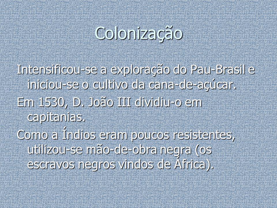 Colonização Intensificou-se a exploração do Pau-Brasil e iniciou-se o cultivo da cana-de-açúcar. Em 1530, D. João III dividiu-o em capitanias.