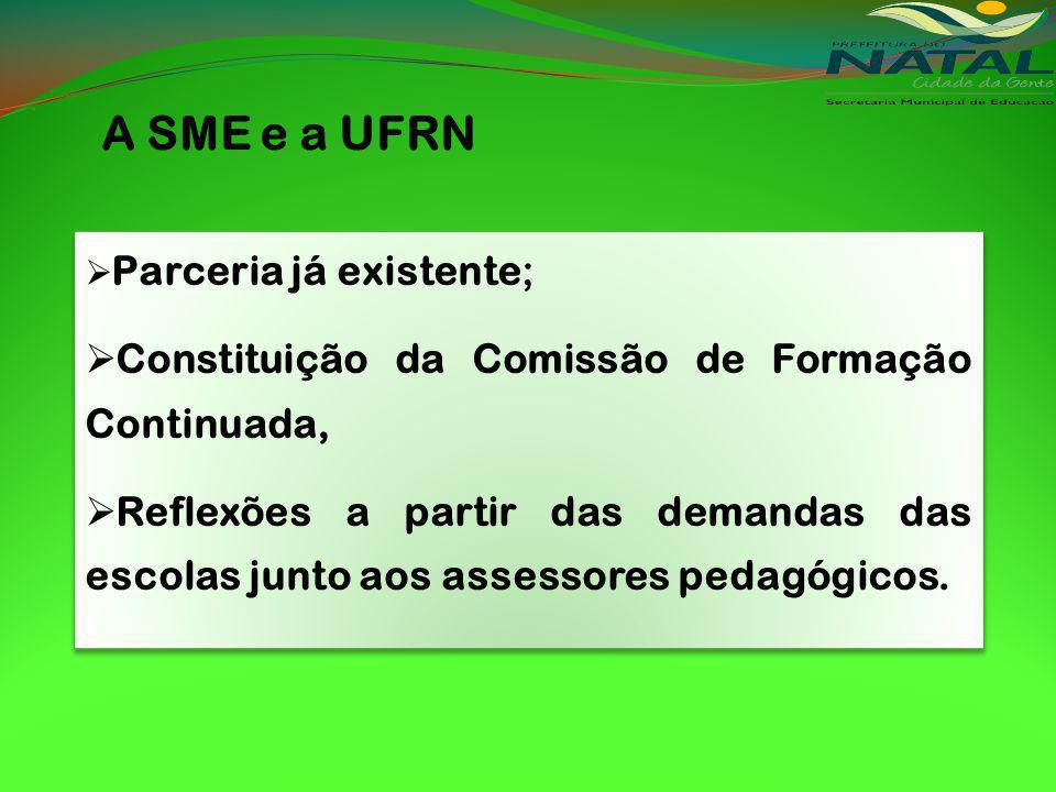A SME e a UFRN Constituição da Comissão de Formação Continuada,