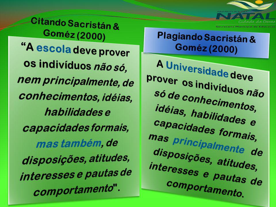 Citando Sacristán & Goméz (2000) Plagiando Sacristán & Goméz (2000)