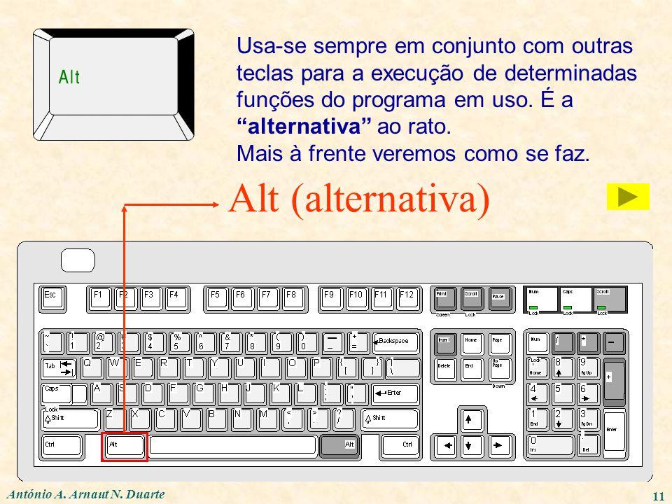 Usa-se sempre em conjunto com outras teclas para a execução de determinadas funções do programa em uso. É a alternativa ao rato.