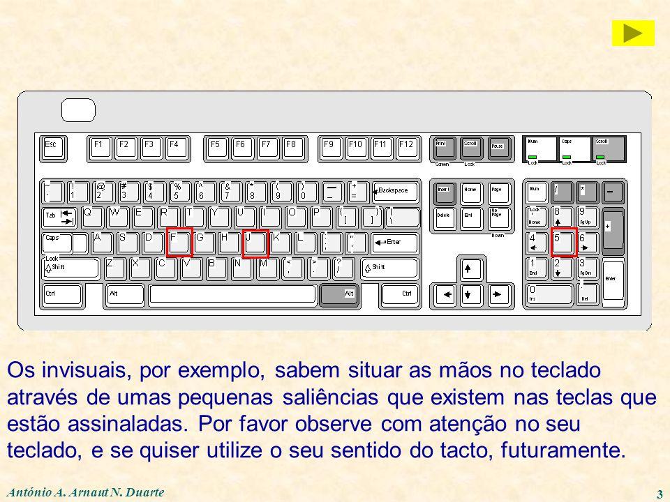 Os invisuais, por exemplo, sabem situar as mãos no teclado através de umas pequenas saliências que existem nas teclas que estão assinaladas. Por favor observe com atenção no seu teclado, e se quiser utilize o seu sentido do tacto, futuramente.