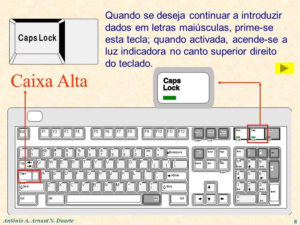 Quando se deseja continuar a introduzir dados em letras maiúsculas, prime-se esta tecla; quando activada, acende-se a luz indicadora no canto superior direito do teclado.