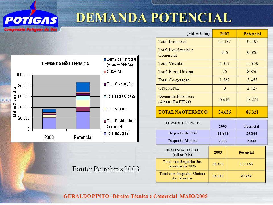 DEMANDA POTENCIAL Fonte: Petrobras 2003